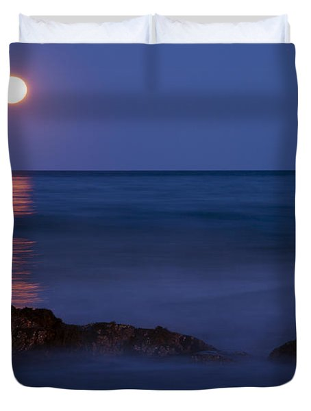 Wells Beach Maine Moonrise Duvet Cover