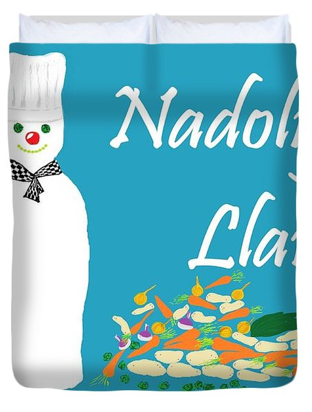 Welsh Snowman Chef Duvet Cover by Barbara Moignard