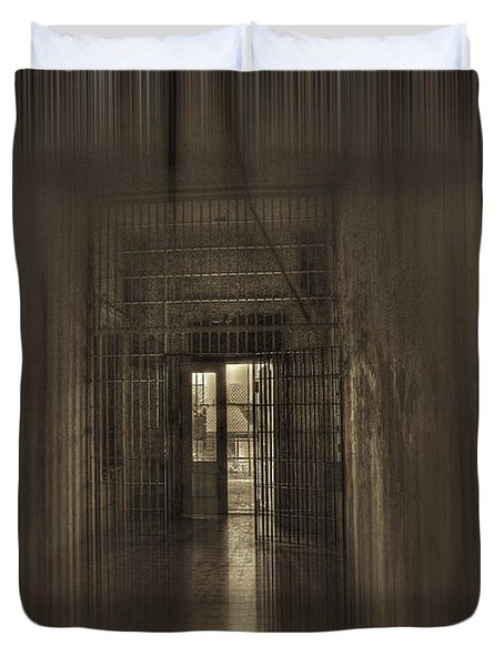 West Virginia Penitentiary Hallway Out Duvet Cover by Dan Friend