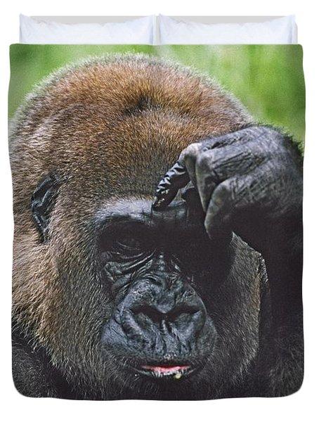 Western Gorilla Portrait With Finger On Duvet Cover by David Ponton