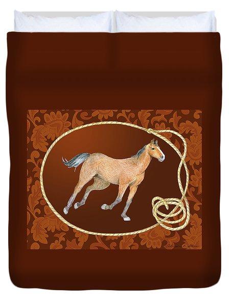 Western Roundup Running Horse Duvet Cover