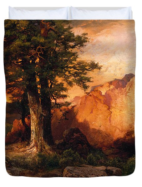 Western Sunset Duvet Cover by Thomas Moran
