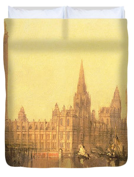 Westminster Houses Of Parliament Duvet Cover by David Roberts