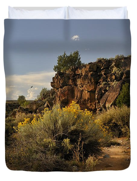 Duvet Cover featuring the photograph Westward Across The Mesa by Ron Cline