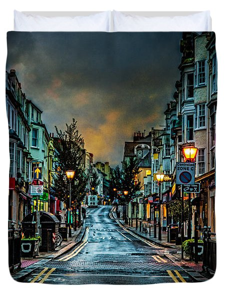 Wet Morning In Kemp Town Duvet Cover by Chris Lord
