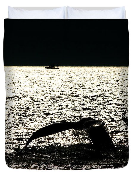 Whale In Sunset Duvet Cover by Paul Ge