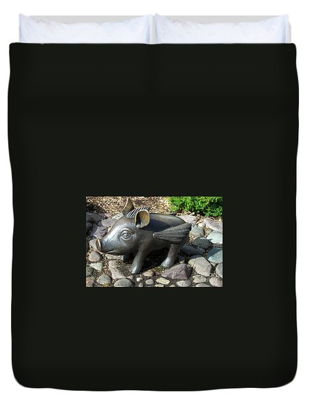 Duvet Cover featuring the photograph When Pigs Fly by Chalet Roome-Rigdon