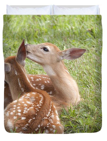Duvet Cover featuring the photograph Whispering Fawns by Jeannette Hunt