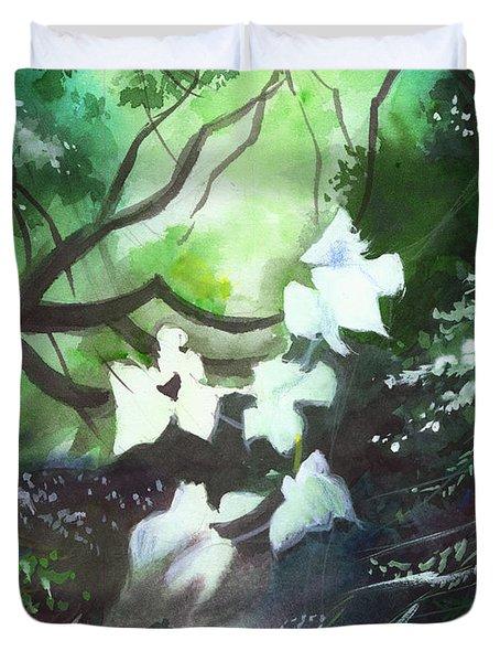 White Begonia Duvet Cover by Anil Nene