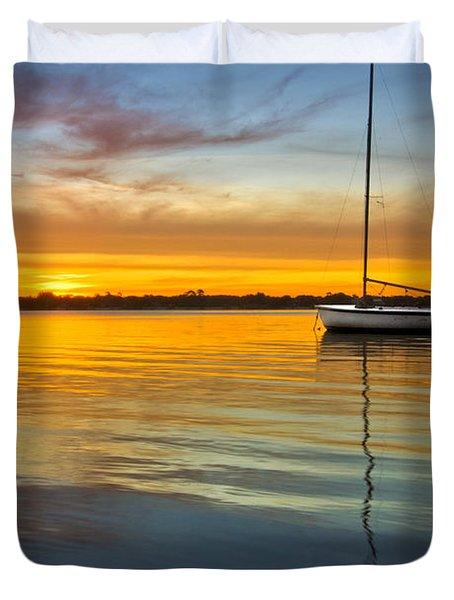 White Boat Duvet Cover by Debra and Dave Vanderlaan