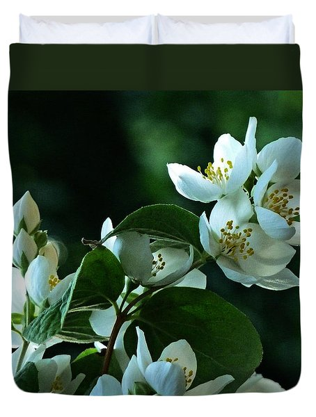 Duvet Cover featuring the photograph White Buds And Blossoms by Steve Taylor