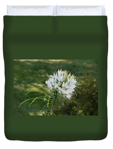 White Cleome Duvet Cover