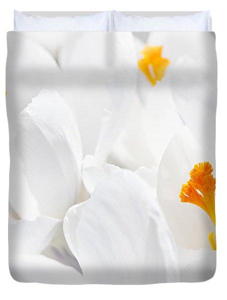 White Crocus Blossoms Duvet Cover by Elena Elisseeva