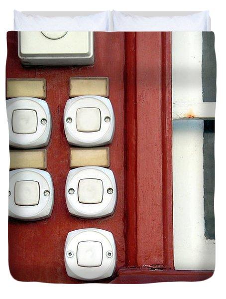 White Doorbells Duvet Cover by Carlos Caetano