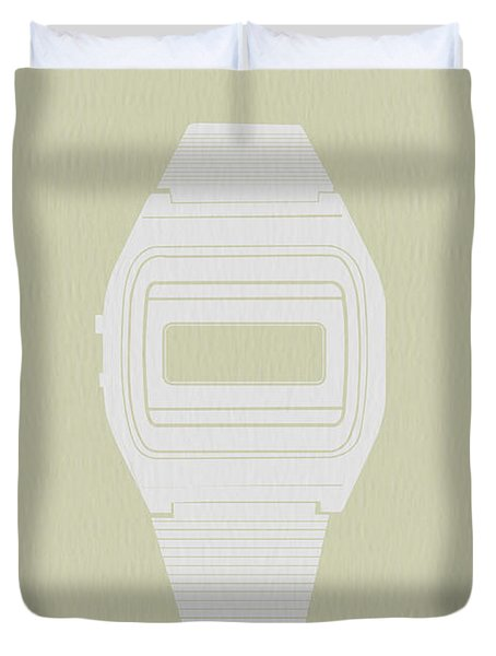 White Electronic Watch Duvet Cover by Naxart Studio