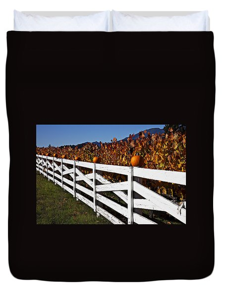 White Fence With Pumpkins Duvet Cover by Garry Gay