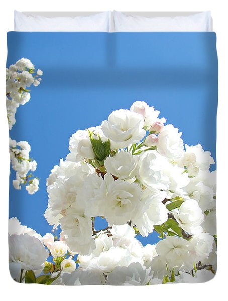 White Floral Blossoms Art Prints Spring Tree Blue Sky Duvet Cover by Baslee Troutman