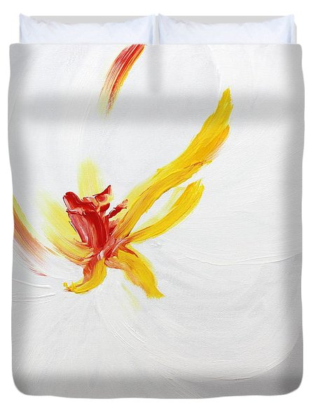 Duvet Cover featuring the painting White Flower by Kume Bryant