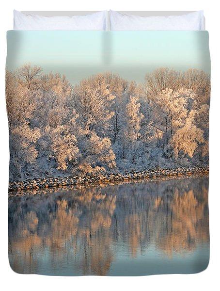 White Frost In Trees Duvet Cover by Ralf Kaiser