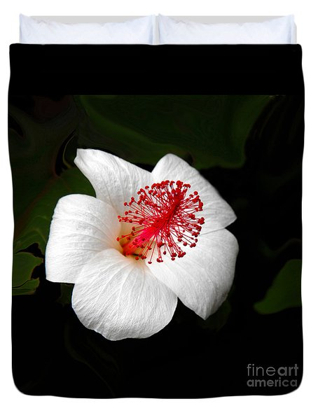 Duvet Cover featuring the photograph White Hibiscus Flower by Rebecca Margraf