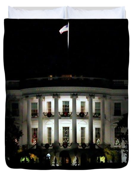 Duvet Cover featuring the photograph White House In December by Suzanne Stout