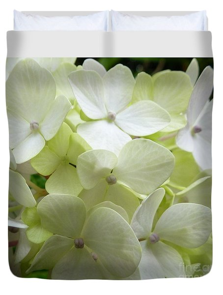 Duvet Cover featuring the photograph White Hydrangea by Barbara Moignard