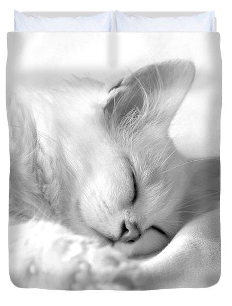 White Kitten On White. Duvet Cover