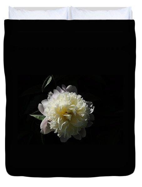 White On Black Peony Duvet Cover