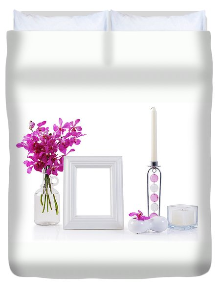 White Picture Frame In Decoration Duvet Cover