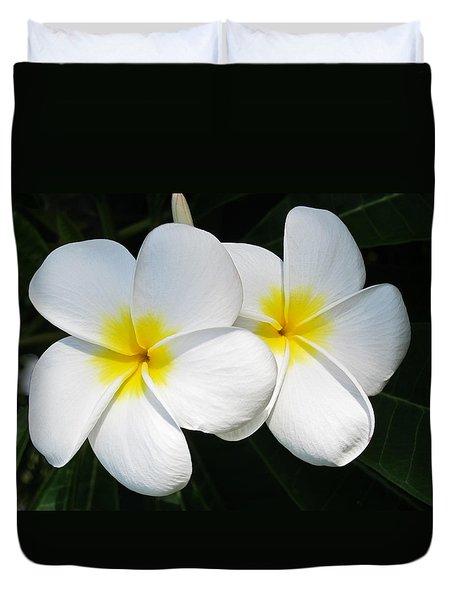 White Plumerias Duvet Cover