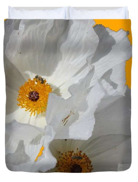 White Poppies On Yellow Duvet Cover by Betty Northcutt