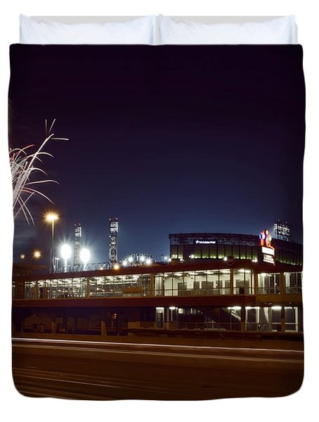 White Sox Homer Fireworks Duvet Cover by Sven Brogren