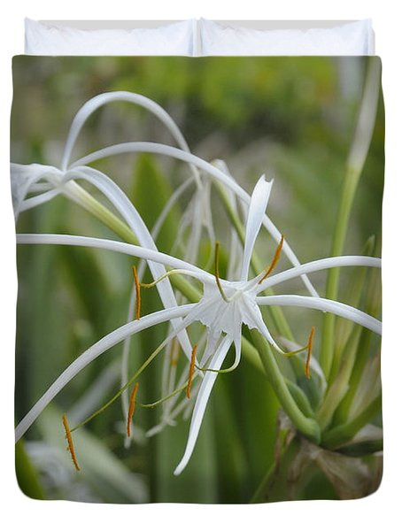 White Spider Orchid Duvet Cover