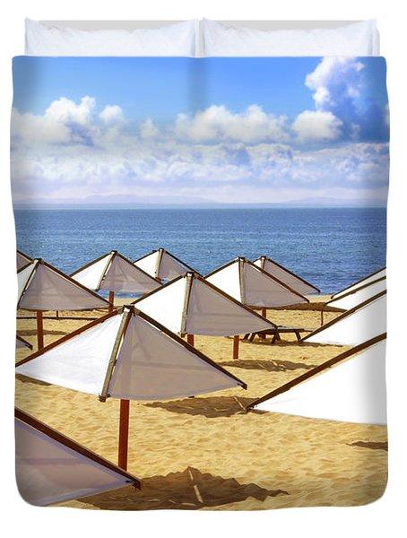 White Sunshades Duvet Cover by Carlos Caetano