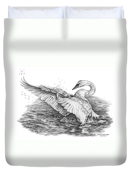White Swan - Dreams Take Flight Duvet Cover by Kelli Swan
