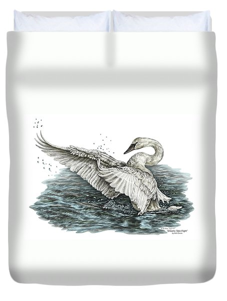 White Swan - Dreams Take Flight-tinted Duvet Cover by Kelli Swan
