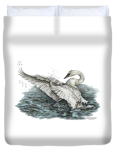 White Swan - Dreams Take Flight-tinted Duvet Cover