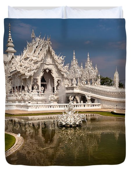 White Temple Duvet Cover by Adrian Evans