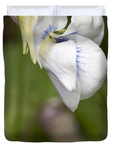 White Violet Macro Duvet Cover