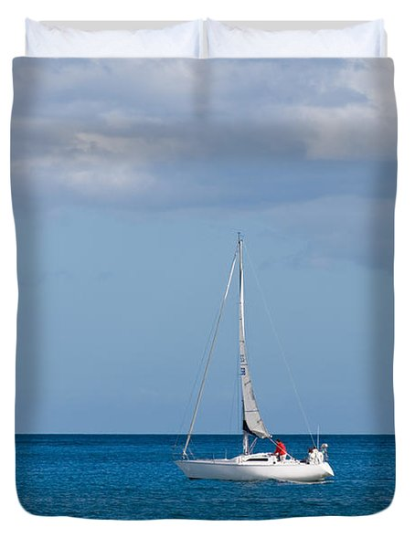 White Yacht Sails In The Sea Along The Coast Line Duvet Cover by Ulrich Schade