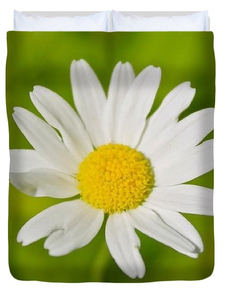 White Petals Yellow Center Duvet Cover