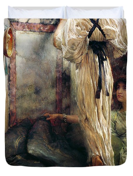 Who Is It Duvet Cover by Sir Lawrence Alma-Tadema
