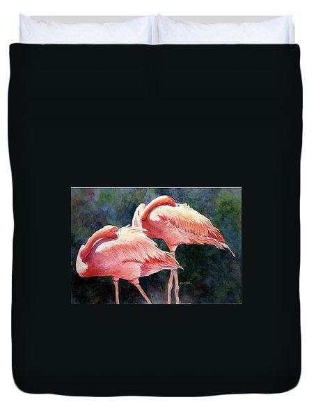 Who's Peek'n - Flamingos Duvet Cover