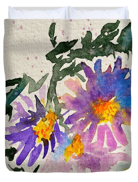 Wild Asters Duvet Cover by Beverley Harper Tinsley