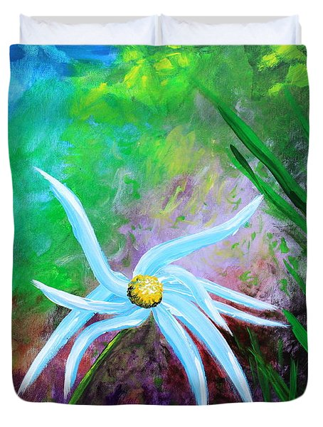 Duvet Cover featuring the painting Wild Daisy 2 by Kume Bryant