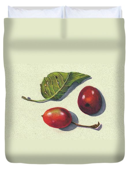 Wild Plums And Leaf Duvet Cover by Joyce Geleynse