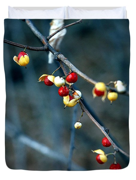 Wild Red Berries Out Of The Shell Duvet Cover by LeeAnn McLaneGoetz McLaneGoetzStudioLLCcom