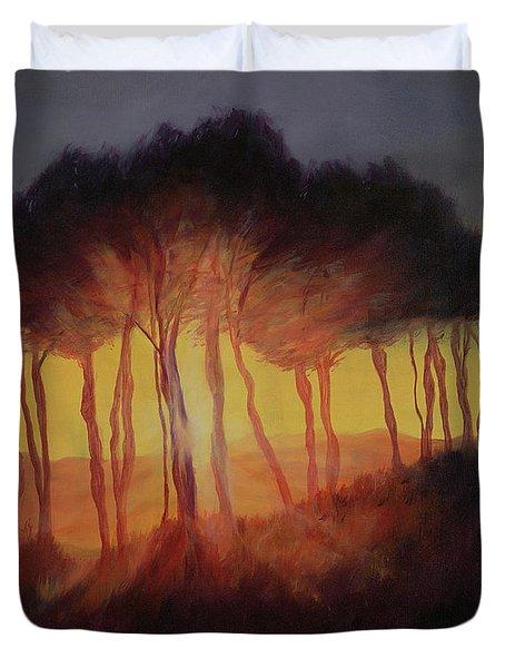 Wild Trees At Sunset Duvet Cover by Antonia Myatt