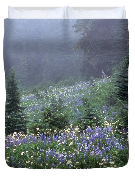 Wildflower Meadow Mt Rainier Duvet Cover