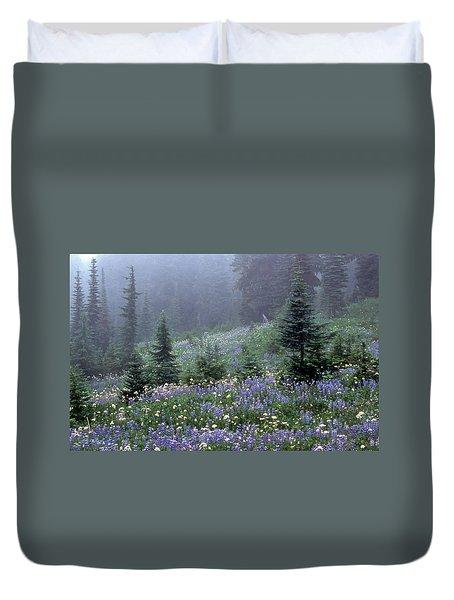 Wildflower Meadow Mt Rainier Duvet Cover